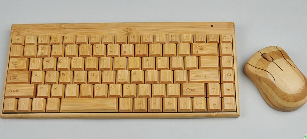 2014 USB wireless bamboo keyboard & mouse combos Free shipping(China (Mainland))