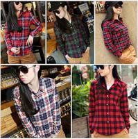 women's shirt  cotton plaid shirt female Autumn 2014 new Korean version of Slim large size women's casual long-sleeved shirt