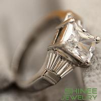 Shinee Free shipping Jewelry Fashion Women 10K  White Gold Filled 925 Sterling Ring Princess-cut Prong-Set Rings R25141