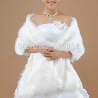 AJ001  New Arrival Long Shrug Fur Wrap Shawl Bridal Wedding Warm Winter Jacket Ivory White 050