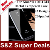 200pcs Free shipping phone cases Aluminum Metal Tempered Glass Cover Case For XiaoMi 4 Mi4 M4