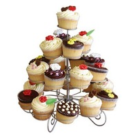 4 Tiers Dessert Cupcake Stands Holding 23 Cupcakes Great for Party Centerpiece Christmas New Year Holiday Celebration