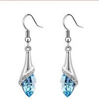 Inlay zircon drop tears female blue 925 sterling silver earrings free shipping.