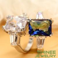Shinee Free shipping Princess-cut Cubic Zirconia Ring Fashion Rings For Women 10kt White Gold Filled Ring R25051
