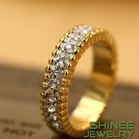 Shinee 18K Rose Gold Filled Plated Eternity Rhinestone Crystal Fashion Unisex Wedding Engagement Jewelry Rings For Women R25051
