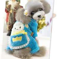 Pet products dog puppy winter jumpsuits rompers clothes for dogs cat thicken fleece warm outfit lovely cartoon pink blue 5 size