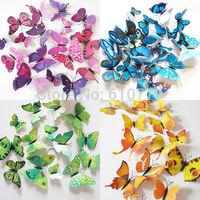 12Pcs 3D Butterfly Wall Decals Removable Sticker Kids Art Nursery Decor Megnets