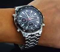 Fashion Men's Full Steel Casual Quartz Watch Dual Time Quartz Analog Digital Watch LED Watches Waterproof Military Wristwatch