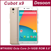 case+film gift)Original Cubot X9 Phone 5.0 Inch MTK6592 Octa Core 2G RAM 16G ROM Android 4.4 3G Mobile Phone 13MP camera Unlock