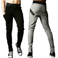 free shipping 2014 Tops Sale  Men Harem Pants sports Casual Loose pocket design skinny Drawstring grey,black SizeM/L/XXL# ZJJ92