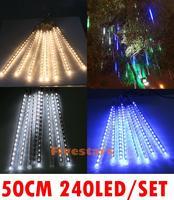 8pcs/lot Free Shipping Outdoor 50cm 240 LED Meteor Shower Snow Fall Light Lamp Christmas Wedding Decoration Garden Lighting