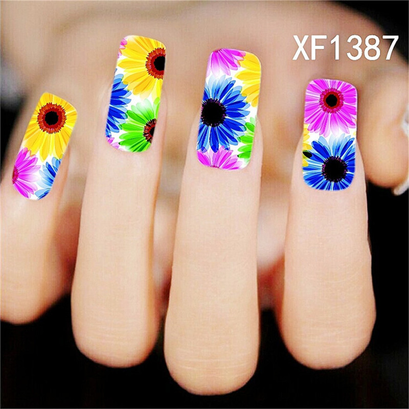 1*sheet french style beauty sun flower design colorful stylish water transfer nail art sticker decal stickers on nail XF1387(China (M