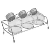 3Pcs Bulb Shape Condiment Set Spice Shaker Jar + Stainless Steel Rack + Retail Package