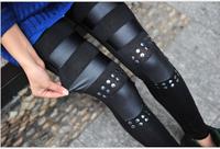 Wholesale 2014 New Leggings For Women Knee rivet leather patchwork Legging Thick Slim Leggings Super Elastic FZ421