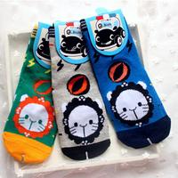 Promotion A710 Children's socks wholesale Cute Cartoon Lion Animal Ball 100% Cotton Boys' Socks For 4-7 years Boys 12 pairs/lot