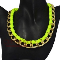 2015 New Accessories Hip Hop Women Jewelry Gold Choker Necklaces Neon Ribbon Wrapped Link Chain Necklace