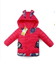 Free shipping 2014 new fashion Chinese style blue and white patterned rabbit-ear hat children down cotton jacket polyester coat