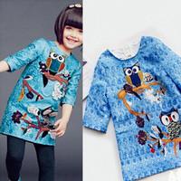 New fashion design!2015 European brand baby girls elegant dress with animal,high quality children clothes for kids wear.