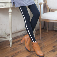 A778 4 colors 2pieces/lot High Quality Cotton Autumn and Winter Wave White Vertical Leggings Fashion Slim Leggings for Women