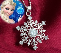 2015 Frozen Princess 925 Sterling Silver Jewelry  Snowflake Gemstone Pendant Necklace Jewelry ,Free Shipping