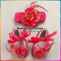 New  Baby girl Sequins Crib sapatos de bebe hedband set,2015 fashion baby shoes set flowers Hair band set #2T0044 3 set/lot