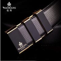 Manbang man Leather belt Luxury genuine cowskin Fashion buckle Black male straps 00-50JZ free shipping