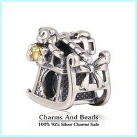2014 New Christmas Santa's Sleigh Charms With 14K Gold Plated Heart 925 Sterling Silver Charms Fits Famous Brand Bracelets LW392