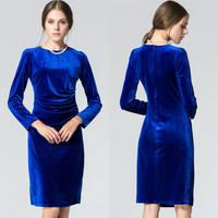 2015 plus size women Winter dress long sleeve Slim gold velvet dress S-XL 6 colors Warm Casual women basic dress for winter G04Y