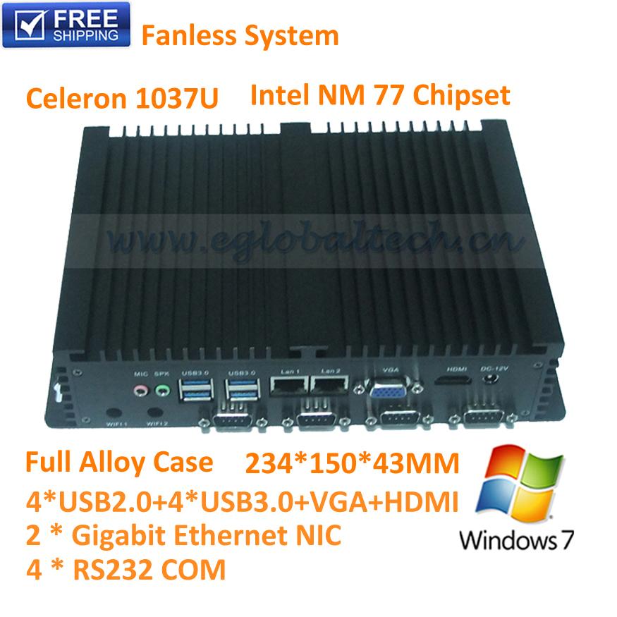 Fanless Industrial NUC PC Windows 8 or Linux Ubuntu C1037U Procesor Workstation 4 RS232 COM port Thin Client Terminal Dual LAN(China (Mainland))