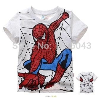 New 2015 boy's t shirt Spiderman cotton short-sleeved t-shirt printing children's cartoon gray kids boys child's clothes(China (Mainlan