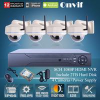 2.0Megapiexl 1080P HD Vandalproof Dome IR Wireless WIFI Network IP Camera Onvif 8CH H.264 NVR Security CCTV System 2TB HDD