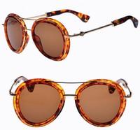 8 Colors Lady's Fashion Anti UV 400 Brand Metal Round Sunglasses 2014 Women's Sunglasses A028