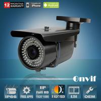 2.0 Megapiexl 1080P Onvif H.264 SONY Sensor 25fps Varifocal 2.8-12mm Lens 78IR Bullet Waterproof CCTV Network IP Camera