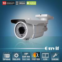 1080P Network IP Camera Varifocal 2.8-12mm Lens CMOS Sensor 78 IR H.264 25fps 2MP Bullet Waterproof Video Surveillance Camera