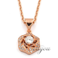 NEW Fashion Jewelry Women Girls Rose Flower w CZ 18K Rose Gold Filled Pendant Necklace Optional Chain Free Shipping P46R