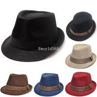 20% Off 2015 Wholesale New Fashion Unisex Boys Girls Cotton Trilby Jazz Show Party Dance Hat 6 color A2