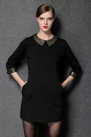 XL-4XL 2015 Brand Sequin Peter Pan Collar Straight Casual Dresses New Autumn Winter Fashion Plus Size Women Clothing work dress