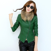 FREE SHIPPING Leather clothing female short design PU clothing coat fur collar