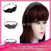 Fashion Popular Metal Flower Headband Olive Leaf Shape Headbands For Women Girls Hair Jewelry Headwear Hair Accessories Female