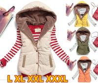 2015 new winter coat women fashion wild plus size cotton vest coral velvet hooded  women vest