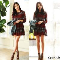 Women Summer Long Sleeve Chiffon Mini Dress Korean Brief Vintage Casual Cute A-line Kleider Print Dot Ruffle Slim Short Vestidos
