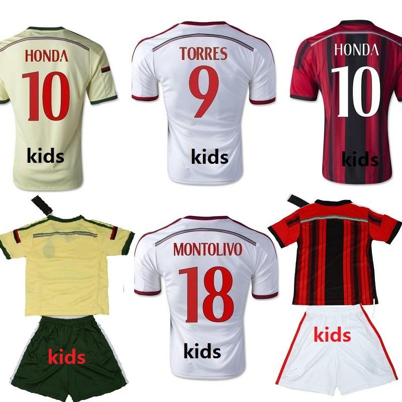 2015 KIDS AC MILAN Soccer jersey TORRES SHAARAWY HONDA 14 ...