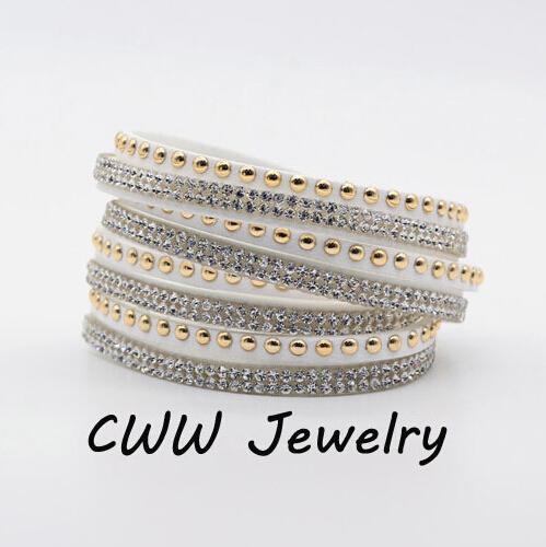 Wholesale Rhinestone Bling Double Leather Wristband Fashion Slake Deluxe Multi Color Crystal Wrap Bracelets For Women (CB105)(China (Mainland))