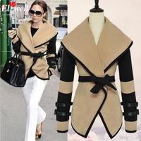 2015 spring Women Designer Fashion Celebrity Style Victoria Beckham Wool Coats Women Winter Long Trench M L XL XXL Free Shipping