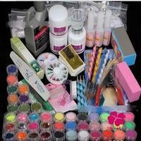 White Pink Clear Crystal Powder Nail Acrystal Glitter Powder Nail Cutter False Nail Tips Clean Brushes Rhinestone Nail Tools Set