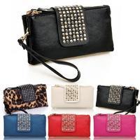 New Women Womens high quality Lady Rivet Clutch Pu Leather Handbag Shoulder Wallet Purse Bag  A2