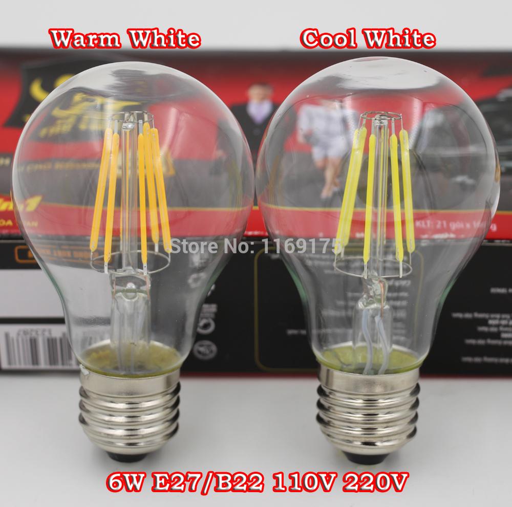 Dhl livraison gratuite 100pcs/lot 6w a60 dimmable 700lm e27 85-265vac cob led filament 2700k lumière d'économie d'énergie
