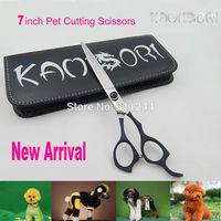 7 inch Black Rubber Coating Best Grooming Shears, 2014 New High Quality Janpanese SUS440C Steel Scissors Dog Grooming Tools