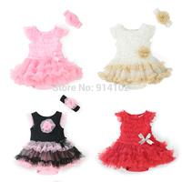 New 2015 Baby Rompers Dress Girls Summer Clothing Set  Romper + Headband Cute Newborn/Infantil 100% cotton Fashion Jumpsuit