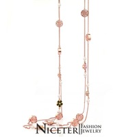 NICETER Rose Gold Plated Bohemia Stryle Long Sweater Necklace With Pearl/CZ Diamond Charm For Women Accessories New 801040105D